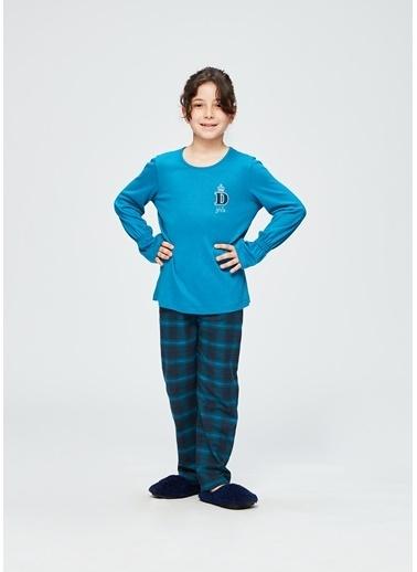 Dagi Kız Çocuk O Yaka Altı Uzun Kollu Pijama Takımı Petrol